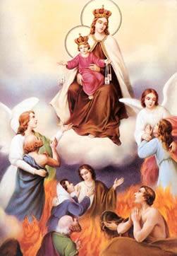 Maria Santisima abogando por las animas del purgatorio