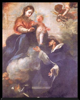 Maria Santisima entrega a Santo Domingo el Rosario